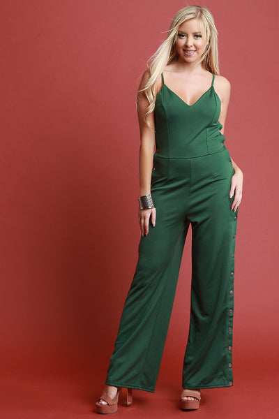 V-Neck Snap Buttons Flared Legs Jumpsuit
