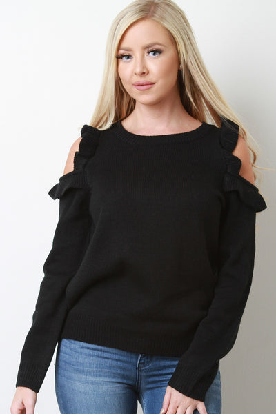 Ruffled Cold Shoulder Ribbed Knit Sweater Top