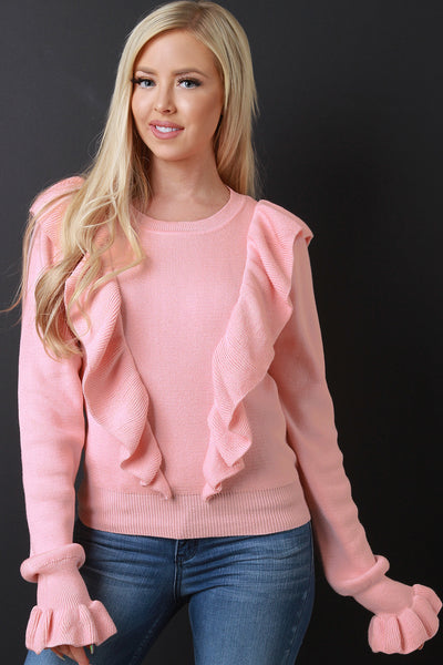 Ruffled Trumpet Sleeve Ribbed Knit Sweater Top