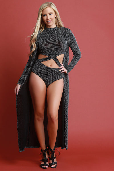 Glitter Knit Bodysuit With Floor Swept Cardigan Set