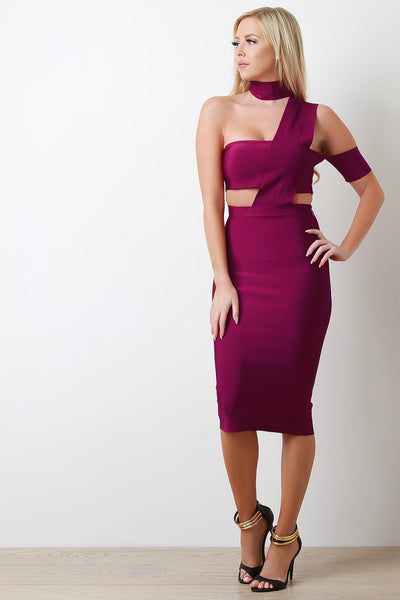 Choker Neck Cut Out Bandage Dress