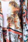 Mixed Print Crop Kimono and Leggings Set