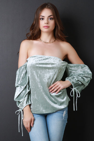 Ruched Statement Sleeve Off Shoulder Velvet Blouse Top