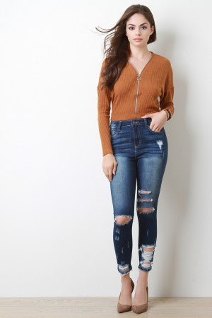 Distressed Hem High Ankle Skinny Denim Jeans