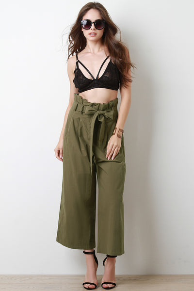 Box Pleated Belted Waist Palazzo Pants
