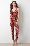 Floral Burnout Sleeveless Jumpsuit