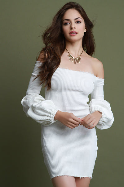 Rib Knit Puff Sleeves Bardot Bodycon Dress