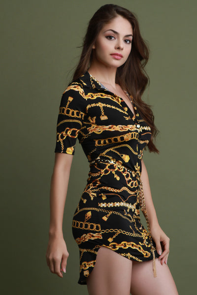 Chain Print Button-Up Belted Shirt Dress