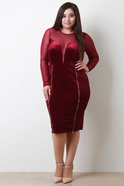 Velvet Mesh Contrast Zippered Midi Dress