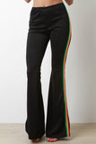 High Rise Side Striped Bell Bottom Pants