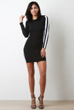 Double Striped Ribbed Knit Bodycon Dress