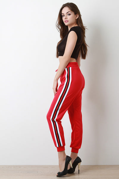 Striped Sides High Waisted Jogger