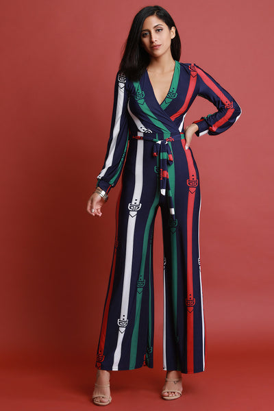 Stripe Printed Surplice Waist-Tie Wide Leg Jumpsuit