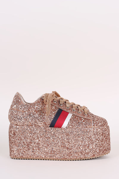 Glitter-Encrusted Stripe Lace-Up Flatform Sneaker