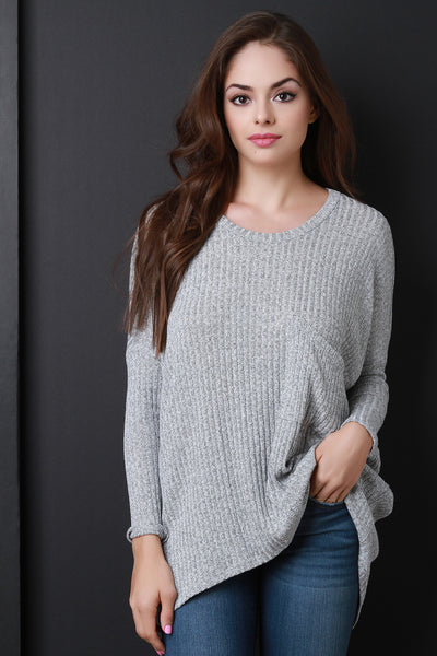 Oversized Knit Long Sleeves Pocket Sweater Top