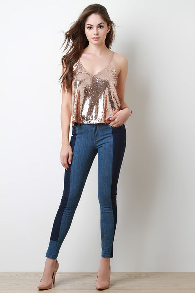 Two-Tone Skinny Denim Jeans