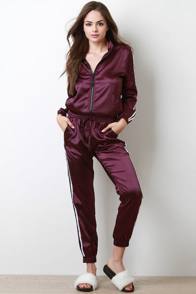 Double Stripe Satin Zip-Up Track Suit Set