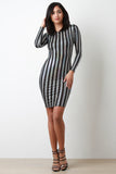 Holographic Striped Bodycon Dress