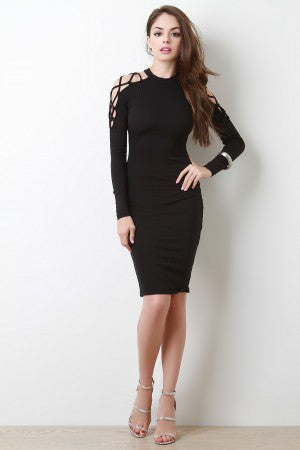 Lattice Cold Shoulder Ribbed Knit Bodycon Dress