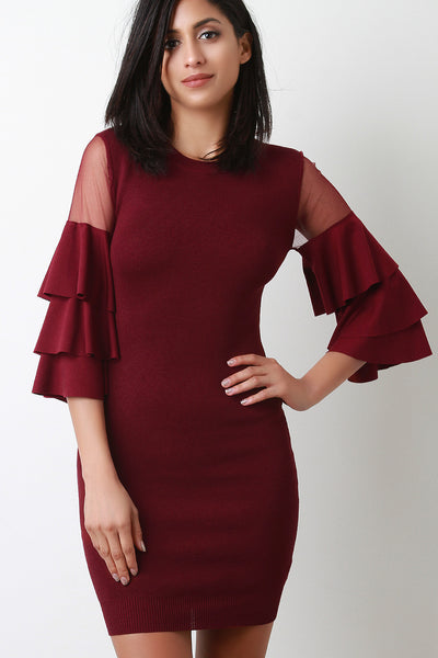 Tiered Ruffled Mesh Sleeve Ribbed Knit Dress