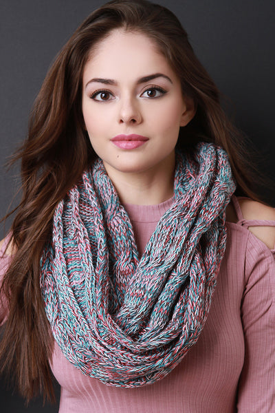 Multi Tone Cable Knit Infinity Scarf