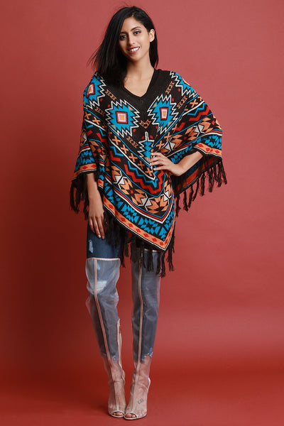 Tribal Knit Fringe Poncho