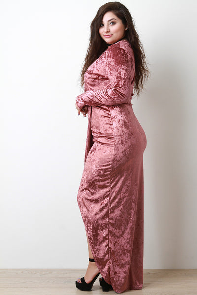 Crush Velvet Surplice Tulip Vent Maxi Dress