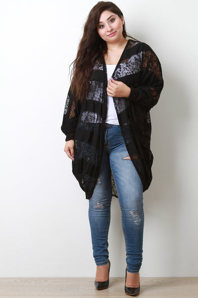 Striped Semi-Sheer Burnout Dolman Cardigan