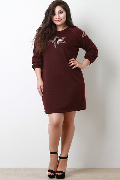 Rhinestone Cutout Stars Sweatshirt Shift Dress