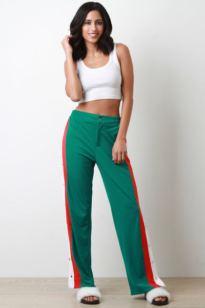 Snap Button Side Striped High Waisted Track Pants