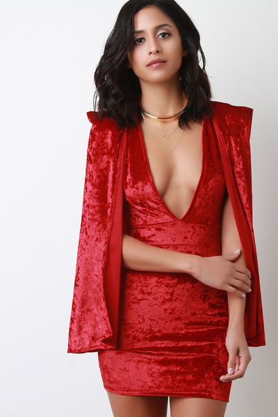 Crushed Velvet Cape Sleeves Bodycon Mini Dress