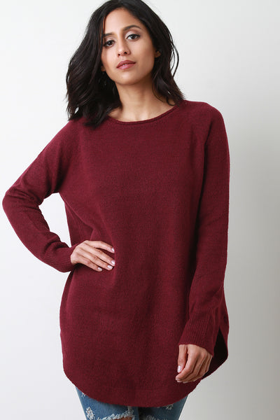Thick Knit Raglan Sleeve Sweater Top