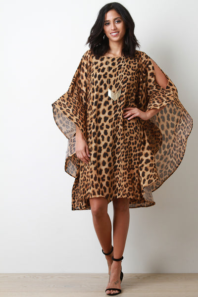 Leopard Oversized Bell Sleeve Cold Shoulder Shift Dress