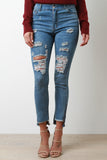 Distressed Raw Notched Hem Skinny Denim Jeans