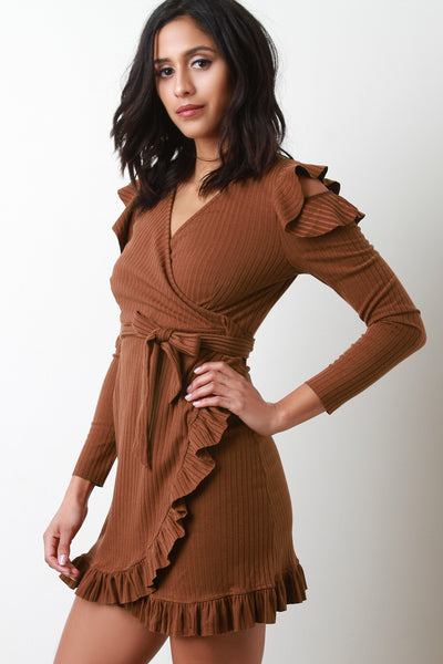Ribbed Knit Ruffle Trim Wrap Dress