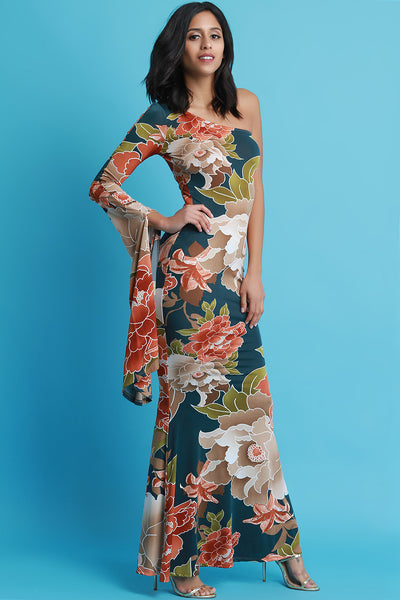 One Shoulder Kimono Floral Mermaid Maxi Dress