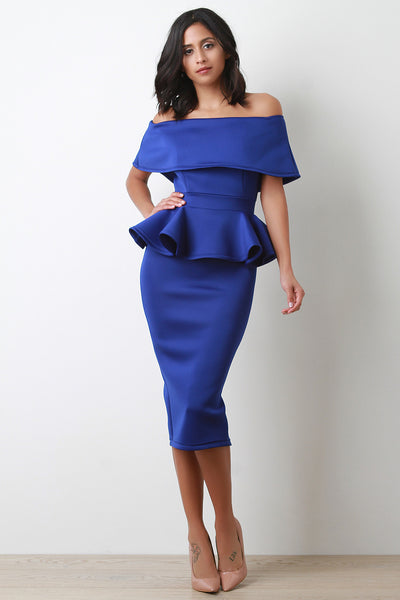 Off-The-Shoulder Peplum Midi Dress