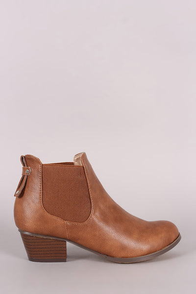 Elastic Gore Block Heeled Chelsea Ankle Boots