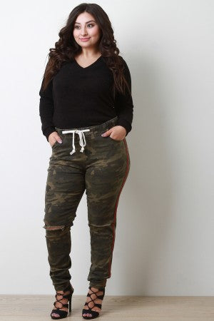 Striped Side Camouflage Drawstring Jogger Pants