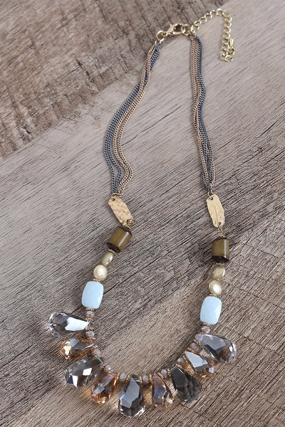 Teardrop Crystal Multi Strands Necklace