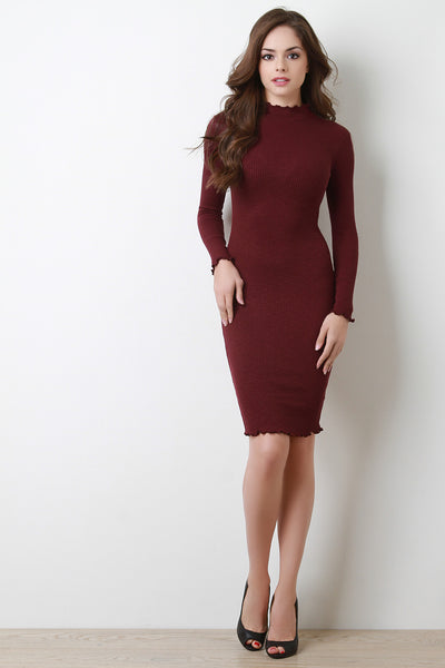 Rib Knit Mock Neck Ruffle Trim Bodycon Dress