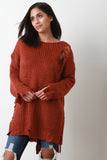 Distress Grunge Lace-Up Knit Oversize Sweater