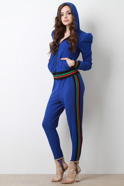 Pleated Puff Shoulder Zip-Up With Strirrup Pants