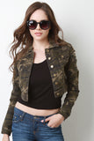 Stringy Destroyed Camouflage Crop Denim Jacket