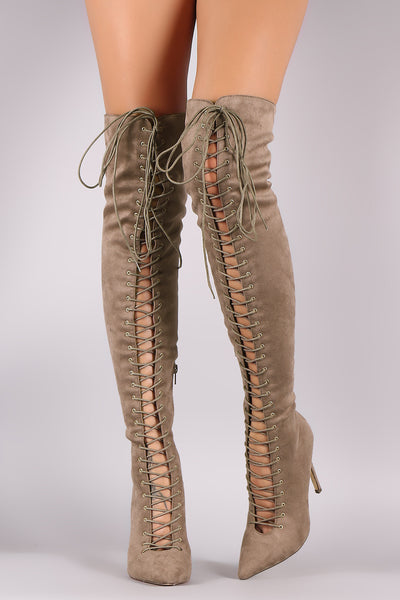 Liliana Pointy Toe Corset Lace-Up Over The Knee Stiletto Boots