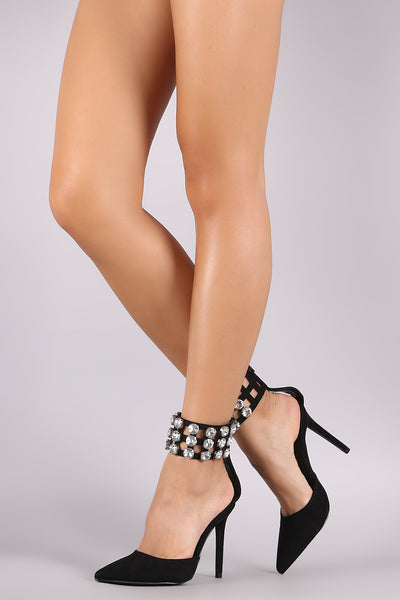Liliana Suede Faux Jeweled Ankle Cuff Stiletto Pump