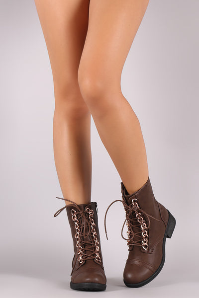 Curb Link Chain Lace-Up Round Toe Combat Ankle Boots