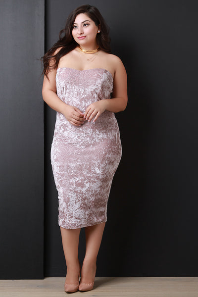 Crushed Velvet Strapless Sweetheart Midi Dress