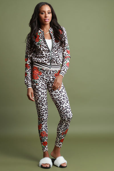 Rosette And Leopard Skinny Track Pants