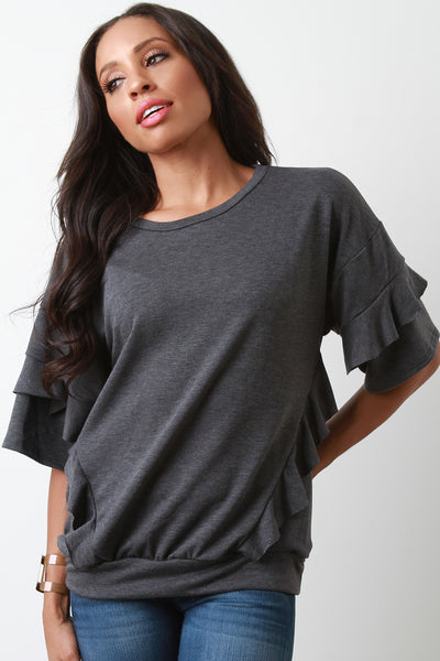 Soft Knit Ruffled Tiered Elbow Sleeves Top